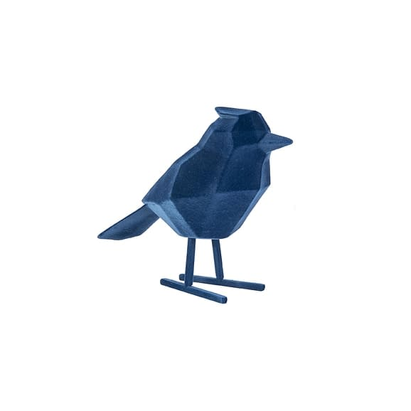 Blauw Ornament Bird - Polyresin Fluweel Donkerblauw - Large - 18