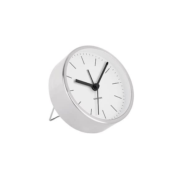 Wit Wekker Minimal - Wit - Nikkel behuizing - Ø10cm