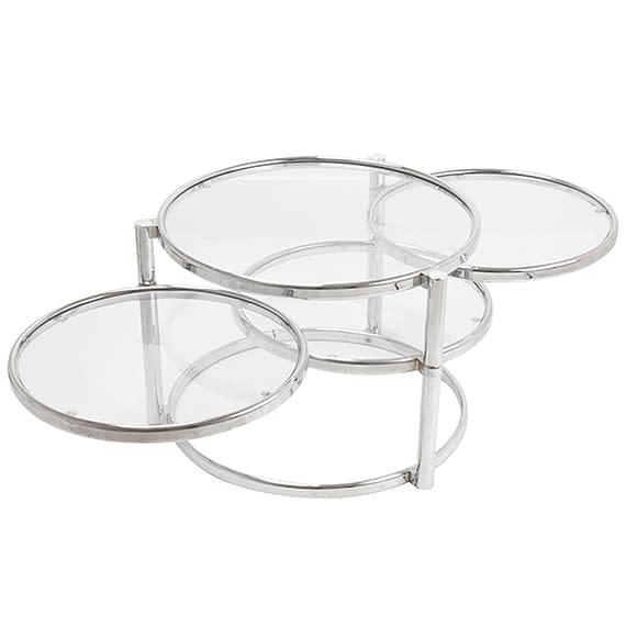 Leitmotiv - Table tripple swivel glass w.steel chrome
