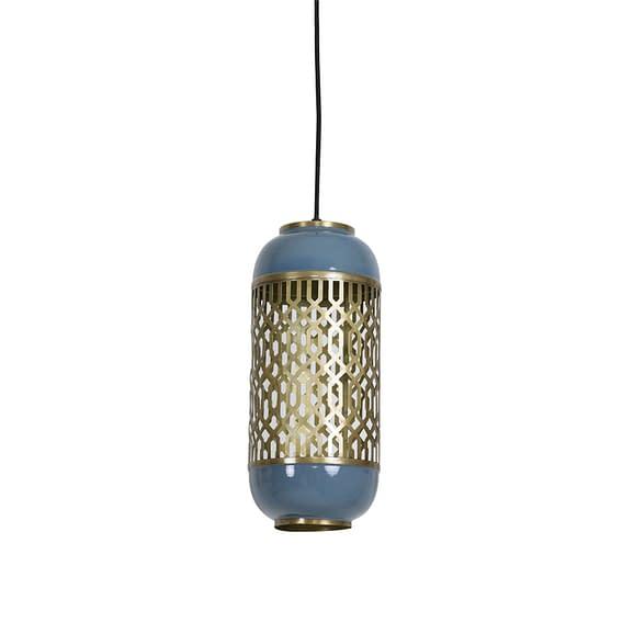 Light & Living Hanglamp Rohat - Blauw - Ø17x37 cm