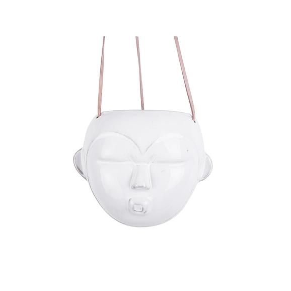 Wit Hangende plantenpot Mask - Glazuur Wit - Rond - 12x18