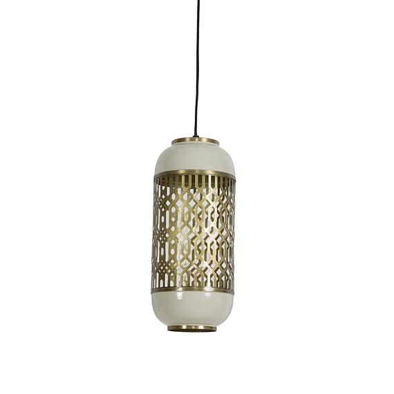 Hanglamp Rohat - Goud/Warm Grijs - Ø17 x 37 cm