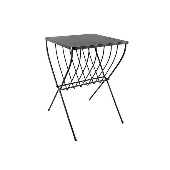 Zwart Side table Cross - Staal Zwart - 36x36x52cm