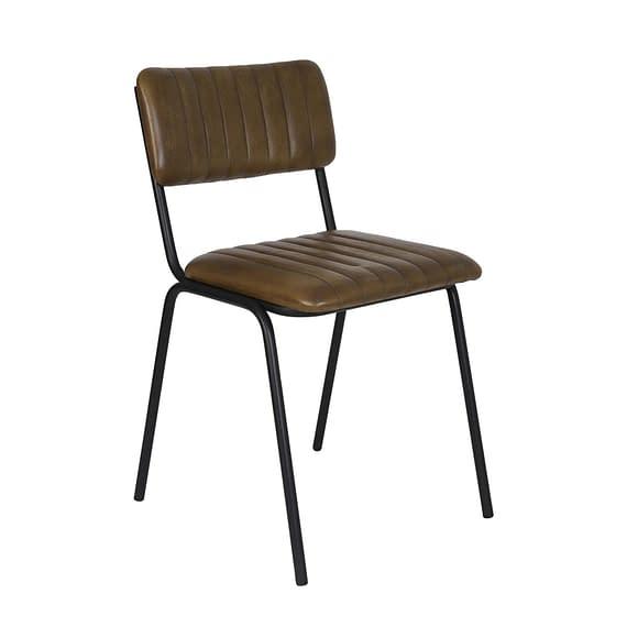 Eetkamerstoel Somanda - Bruin Leer - 52 x 46 x 78 cm