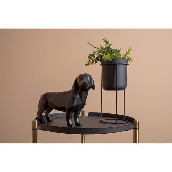 - Statue Origami Dog standing polyresin matt black