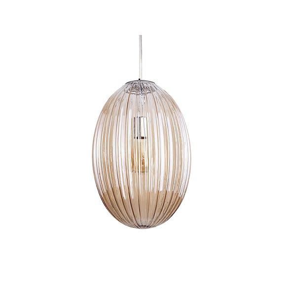 Bruin Hanglamp Smart - Ovaal Glas Amber Bruin - Large - 30x44cm