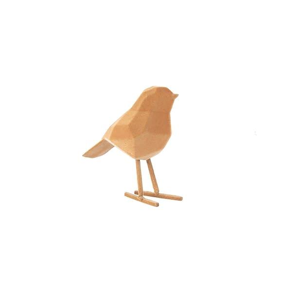 Bruin Ornament Bird - Polyresin Fluweel Bruin - Small - 13