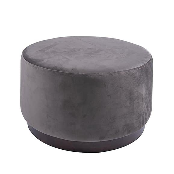 Bruin Poef W. Wood Rim - Velvet Donker Taupe - Large - 50x30cm