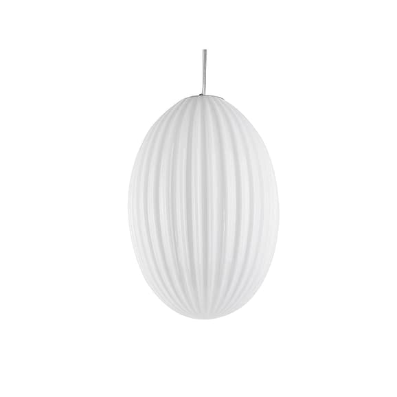 Wit Hanglamp Smart - Ovaal Glas Opaal Wit - Large - 30x44cm