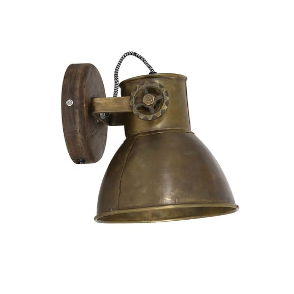 Wandlamp 20x18x19 cm ELAY hout weather barn+antiek brons