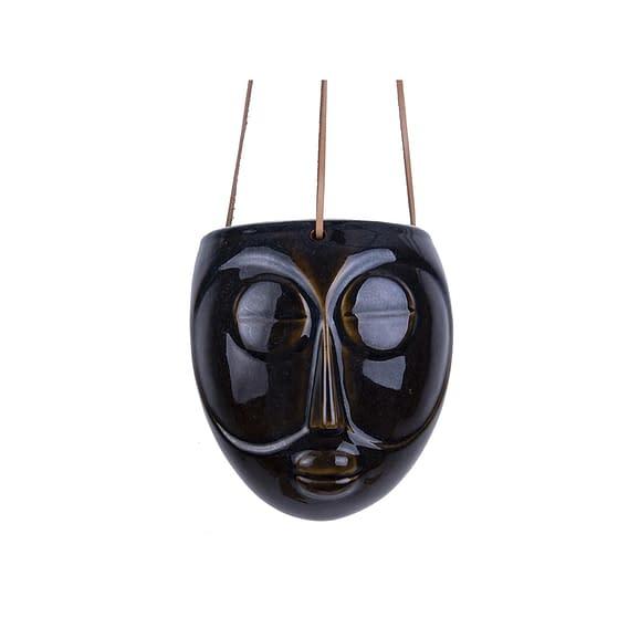 Bruin Hangende plantenpot Mask - Glazuur Donker Bruin - 16