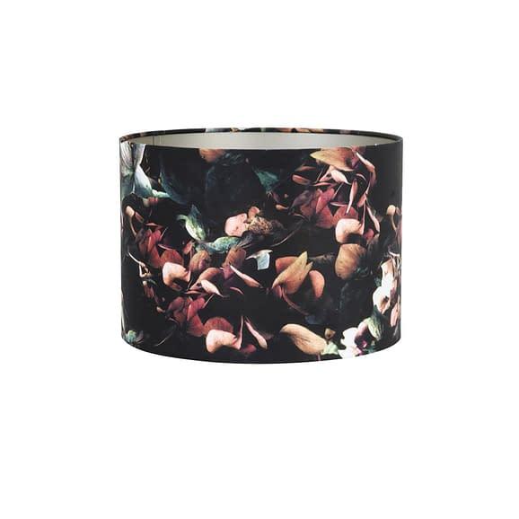 Cilinder Lampenkap Velours - Hortensia Zwart - Ø50 x 38 cm