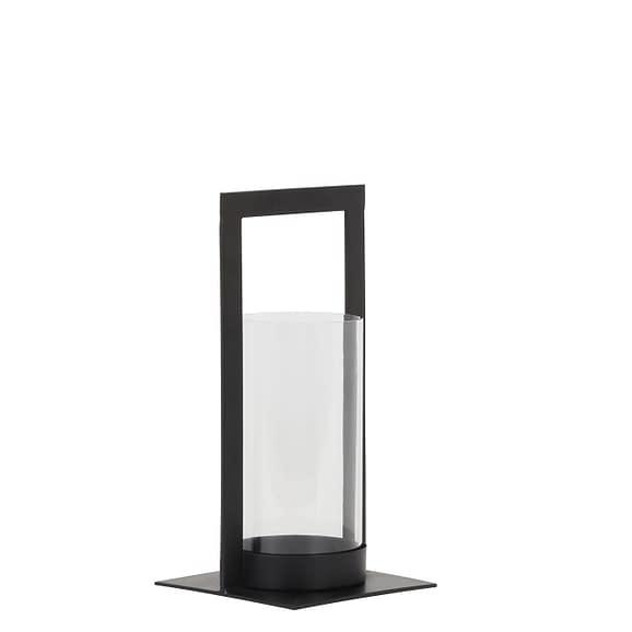 Light & Living Windlicht Jelco - Zwart/Glas - 15x15x30 cm