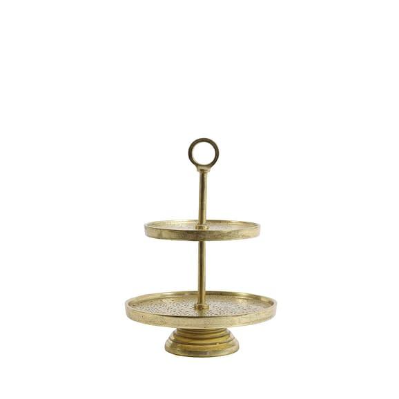 Etagere 2 laags Ø24x37 cm LUTEK goud