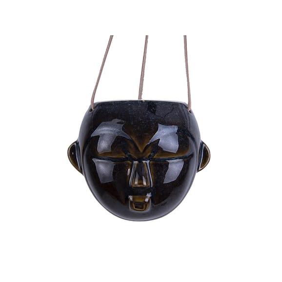 Bruin Hangende plantenpot Mask - Glazuur Donker Bruin - Rond - 12x18