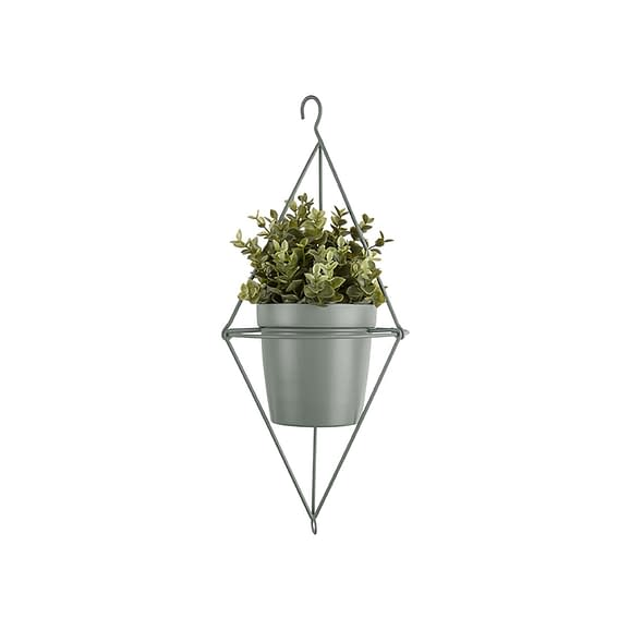 Groen Hangende plantenpot Spatial Diamond - IJzer Jade Groen - 13x12cm