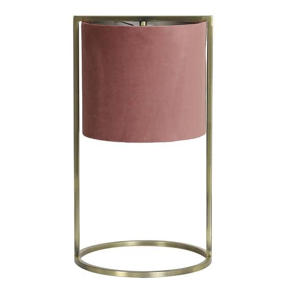 Tafellamp Ø25x45 cm SANTOS antiek brons+kap oud roze