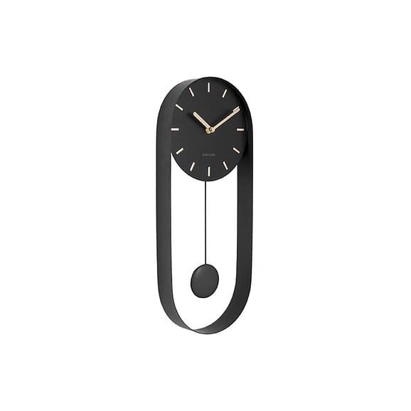 Karlsson - Wandklok Pendulum Charm - Staal Zwart - 50x20x4