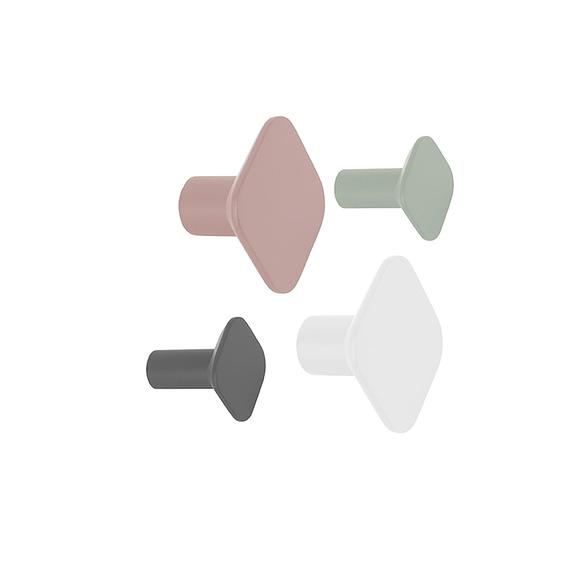 Multicolor Wandhaak set Elegant Earth - Polyresin Vierkant - 7x7cm(2stuks) & 4