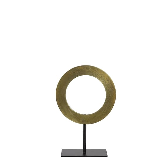 Ornament op voet Waiwo - Ruw Antiek Brons/Zwart - Ø25x38 cm