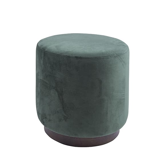 Groen Poef W. Wood Rim - Velvet Donker Groen - Medium - 36x38cm