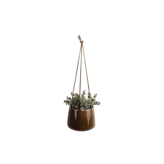 Bruin Hangende plantenpot Unique - Glazuur Karamel Bruin - Large - 17x13