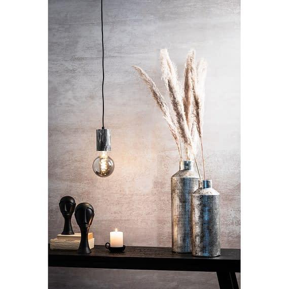 Hanglamp Vidar - Zwart Marmer Print - Ø8x120 cm - Incl. Lichtbron