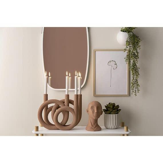 - Candle holder Rings polyresin terracotta orange