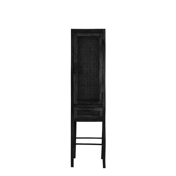 Wandkast Nipas - Zwart hout - 45 x 40 x 180 cm