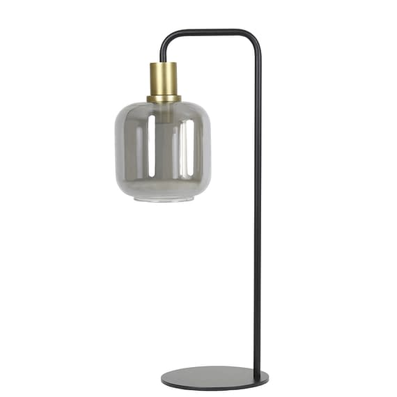 Tafellamp Lekar - Antiek Brons/Smoke Glas - Ø18x57