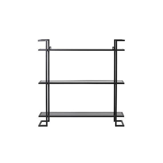 Open Wandkast Naya - Zwart/Zwart Glas - 80 x 18 x 80 cm