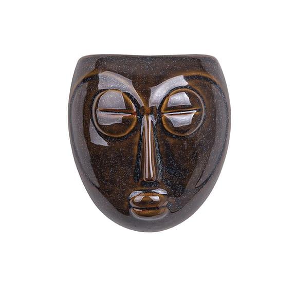 Bruin Muur plantenpot Mask - Glazuur Donker Bruin - 16