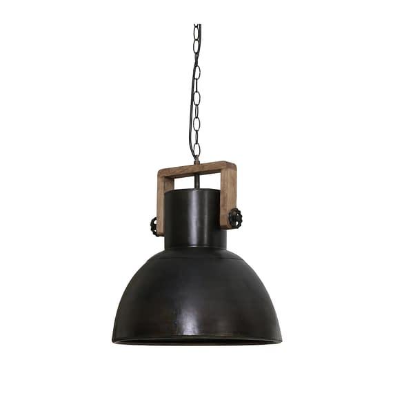 Hanglamp Shelly - Zwart Zink/Hout Weather Barn - Ø40x45 cm
