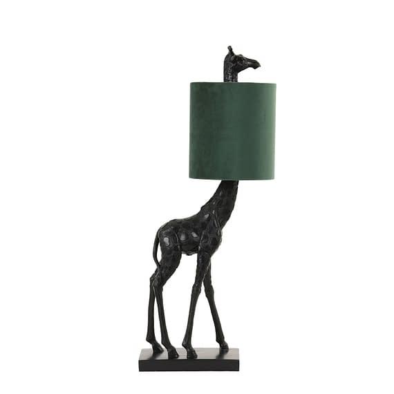 Light & Living Tafellamp Giraffe - Zwart/Velvet Donkergroen - 20 x 28 x 68 cm