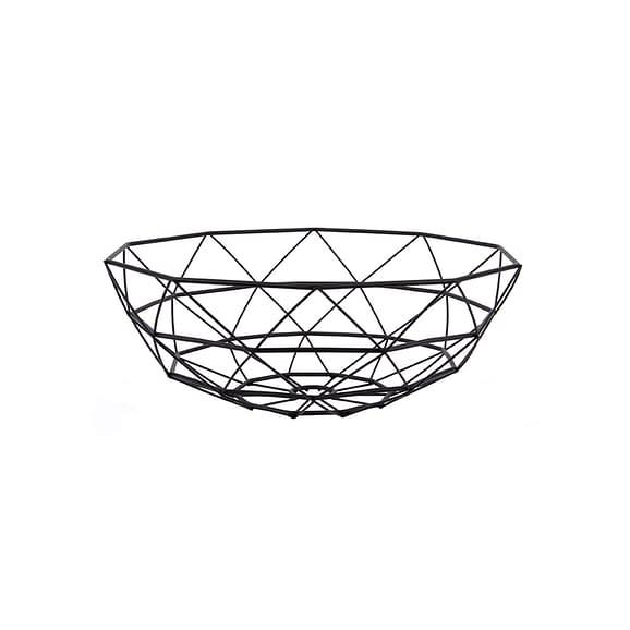 Zwart Fruitschaal Diamond Cut - IJzer Zwart - L - 35x13cm