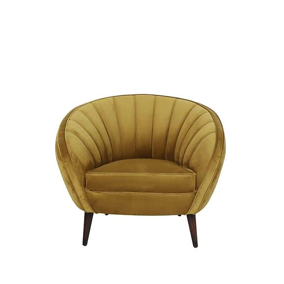 Light & Living Almond - Gele velvet fauteuil