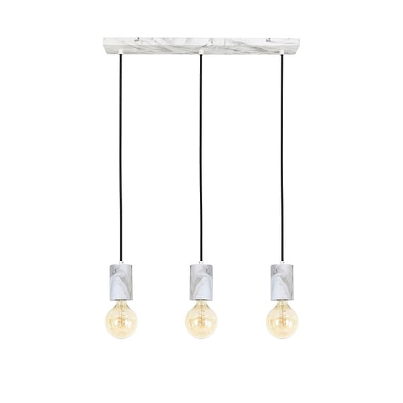 Hanglamp Vidar - Wit Marmer Print - 60x8x120 cm - Incl. 3 Lichtbronnen
