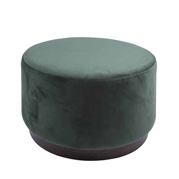 Groen Poef W. Wood Rim - Velvet Donker Groen - Large - 50x30cm