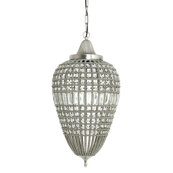 Hanglamp CHARLENE - Nikkel-Kristal Druppel - L