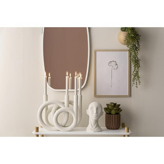 - Candle holder Rings polyresin ivory