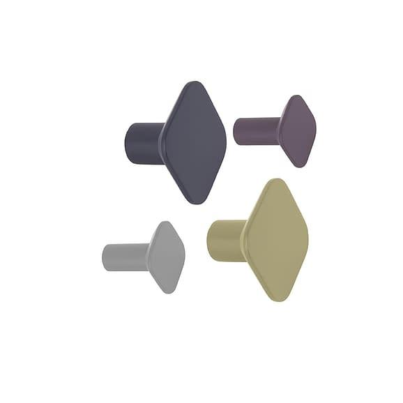 Multicolor Wandhaak set Arctic Air - Polyresin Vierkant - 7x7cm(2stuks) & 4