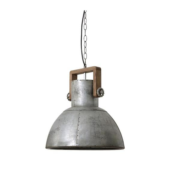 Hanglamp Shelly - Vintage Zilver/Hout Weather Barn - Ø40x45 cm