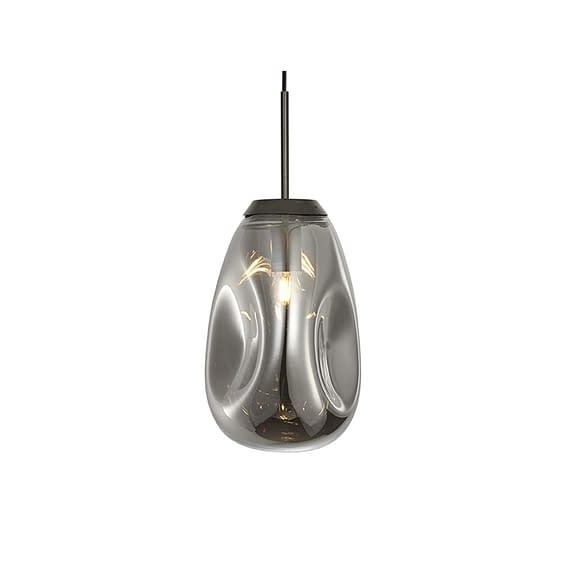 Leitmotiv - Hanglamp Blown Glass - Gun Metal - Medium - 22x33cm