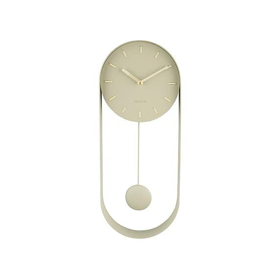 Karlsson - Wandklok Pendulum Charm - Olijf Groen - 50x20x4