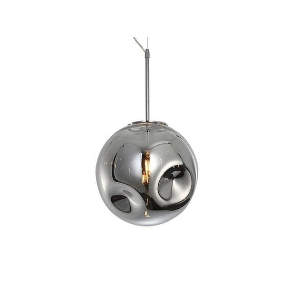Zilver Hanglamp Blown Glass - Rond Chroom - Ø30cm