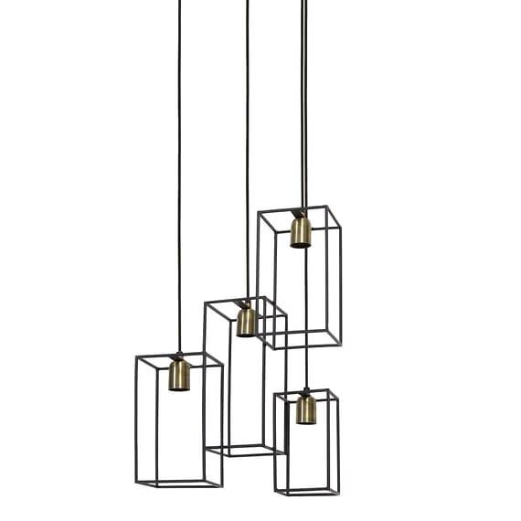 Hanglamp VANI - mat zwart/Antiek-brons