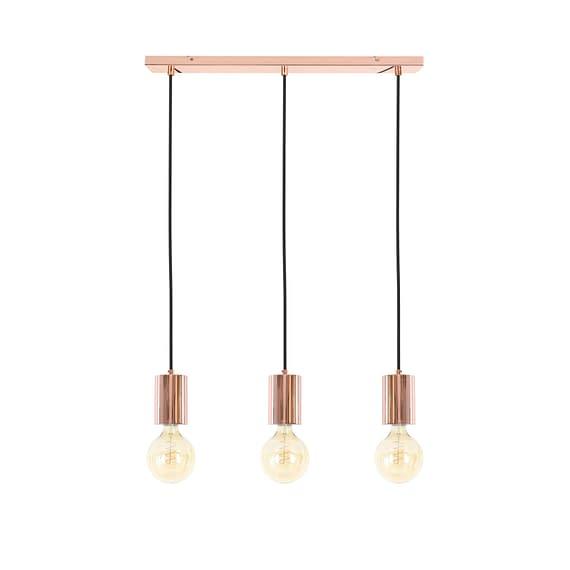 Koperen pendel hanglamp met 3 lichtbronnen