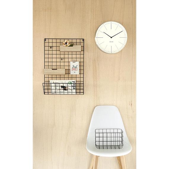 - Memo rack Grid black w. wooden baskets