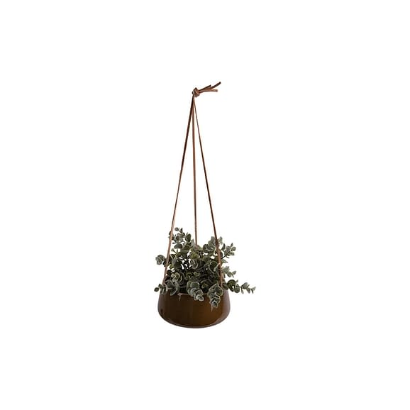 Bruin Hangende plantenpot Unique - Glazuur Karamel Bruin - 16x8
