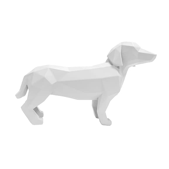 Wit Ornament Origami Dog - Standing polyresin Mat Wit - 29